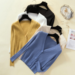 新款V領小香風外套顯瘦純色開衫針織衫毛衣 8863#