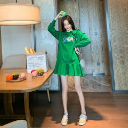 开心果绿色长袖连衣裙秋装女2019新款韩版休闲娃娃领荷叶边一件代发2240
