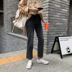 三峥基础烟灰色水洗高腰九分牛仔裤女2019秋季韩版直筒裤K1324