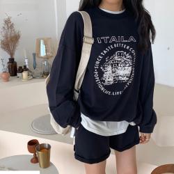 三峥卷边简约短裤字母图案印花薄卫衣套装女2019秋季韩版Z89414
