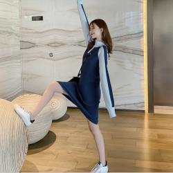 蜜朵2019新款秋冬连衣裙修身显瘦气质高领拉链撞色长袖裙子女F7660