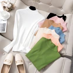 韬姗 2021春季新款时尚气质修身竖条纹半高领打底衫 9001