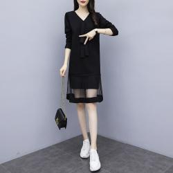 新款大码女装胖MM加肥加大遮肉显瘦大码连衣裙  9237