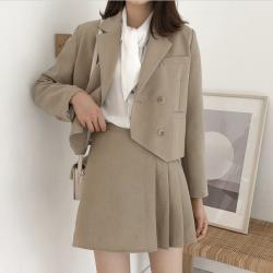 【预售】美歌西装外套女韩版秋2019新款百褶短裙子 小西服套装W10926