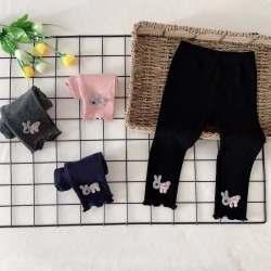 欧耶 2019秋童装新款女童糖果色打底裤 外穿女小童儿童打底裤