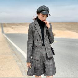 西源时尚格纹套装秋季女装拼接小西装裙套装女网红韩版两件套W26T8921