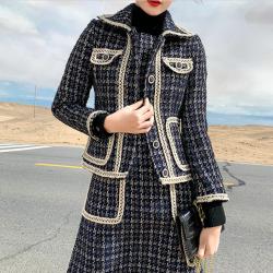 西源2019秋冬新款韩版时尚毛呢连衣裙小香风两件套气质格纹裙套装W26Q5528+W26S5529