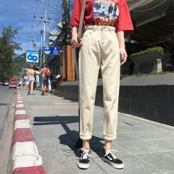 米歇尔 2019春季新款女装牛仔裤 韩版高腰松紧腰无弹宽松哈伦裤 1556#