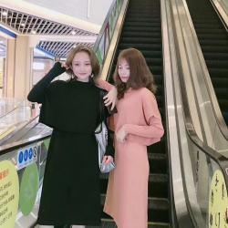 韬杉 2019秋季新款气质时尚百搭针织两件套套装裙闺蜜裙 8006