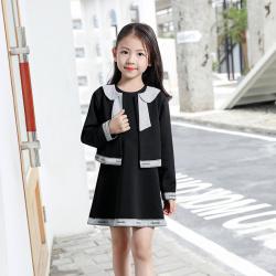 其利 预售2019秋季新款童装小香风高仿高级套装连衣裙