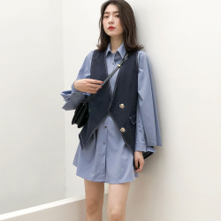 美歌兩件套秋洋氣燈籠袖連衣裙開衫馬甲襯衫裙寬松套裝W1073