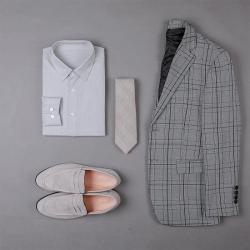 UNDERCROXX 2019新款时尚气质男士细格纹纹棉衬衫 6281