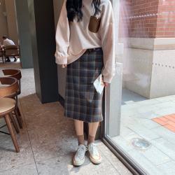 三峥复古chic高腰显瘦格子半身裙女2019秋季韩版A字包臀裙Q71464
