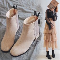 盛州高跟短靴女春秋单靴粗跟ins网红瘦瘦靴子女2019新款英伦风6250