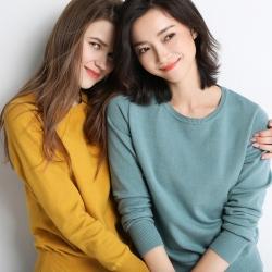 Shiyaana  2019秋冬新款时尚气质修身亲肤舒适休闲圆领针织打底衫女