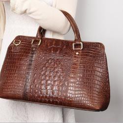 圳达冬季新款真皮鳄鱼纹品质女包复古时尚大气女士手提包6003