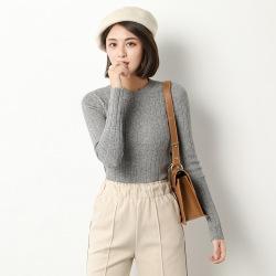 秋冬装新款纯色毛衣女针织包芯纱圆领长袖打底衫修身显瘦针织衫女