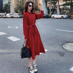 锦申法式复古红色长袖连衣裙女秋季2019新款小个子宽松收腰衬衫裙长裙58426006989055