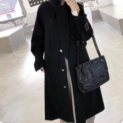 温信T4362 女装2019秋季新款帽子可拆长款风衣女韩版休闲过膝大衣外套
