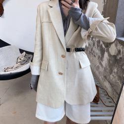温信T4288 女装2019秋新款气质收腰拼接袖修身中长款松紧腰带西装外套