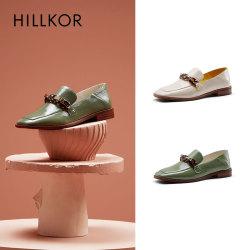 晖蔻2020新款英伦风复古平底漆皮一脚蹬乐福鞋女穆勒单鞋两穿HK102
