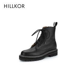 晖蔻马丁靴2019新款 高帮帅气女英伦风牛皮革系带平底女中筒短靴HK371