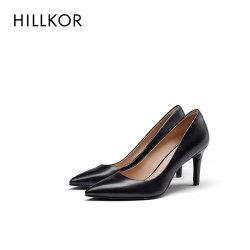 晖蔻女鞋2020新款真皮百搭单鞋女黑色职业尖头工作高跟鞋女细跟HK251