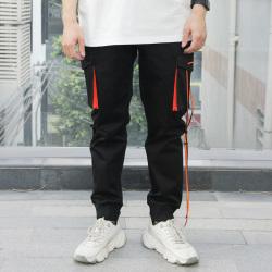 独有主见 2020春季新款男装潮流潮男个性时尚抽绳工装休闲长裤 625243
