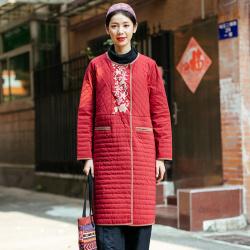 楚馨特优美 新款2019冬季新款民族风女士中长款外套百搭显瘦棉衣刺绣棉衣