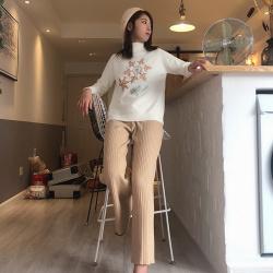 Shiyaana 預售款褲子女秋冬新款加厚坑條紋針織闊腿褲女高腰寬松直筒垂感顯瘦