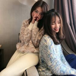 Shiyaana 秋冬新款针织毛线厚款阔腿裤女垂感直筒bf网红休闲针织裤子