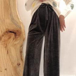 Shiyaana 裤子女秋冬2019新款加厚坑条纹针织阔腿裤女高腰宽松直筒垂感显瘦