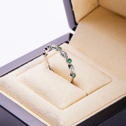 18k金石榴石綠寶石戒指