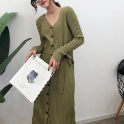 兰君韩版女装单排扣纯色新款长袖连衣裙秋季中长款毛衣裙子ZWT122
