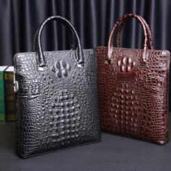 華弘 真皮鱷魚壓紋男士手提包包