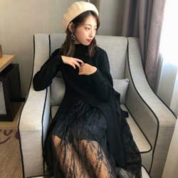 Shiyaana 秋冬新款针织连衣裙两件套时尚洋气气质宽松百搭网纱半身裙子