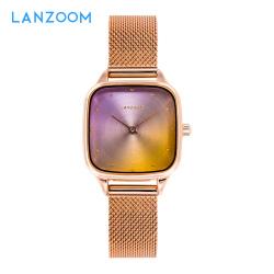 藍族LANZOOM-Donau系列石英腕表漸變色智能手表女簡約氣質時尚方盤明星單品