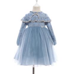 牧遥长袖蕾丝公主裙欧美网纱一件套礼服裙 932015