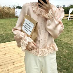 衬衫女设计感小众2019秋冬韩版新款宽松蕾丝边荷叶领港味上衣 U6113