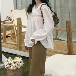 新款复古小众款蕾丝拼接棉质长袖衬衫法式娃娃衬衫 6109