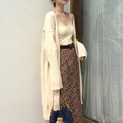 2019新款秋冬女外套慵懒风中长款网红宽松韩版针织毛衣开衫 6131