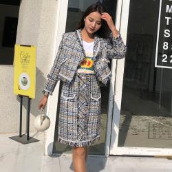 小香風套裝女2020秋冬新款韓版洋氣氣質溫柔風外套時尚裙子兩件套