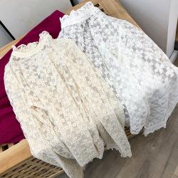 兰君春季韩版女装纯色女士长袖网纱打底衫女套头蕾丝衫女款ZT358
