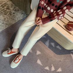 蜜朵高腰休閑針織闊腿褲秋冬女裝新款韓版寬松直筒哈倫褲運動褲F3126