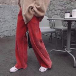 【森森】松緊腰純色燈芯絨闊腿休閑褲  6601#  LXX