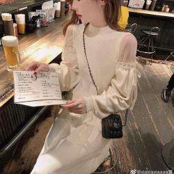 【MOMOSTYLE】年会拼接小透视网纱肩绑带针织连衣裙  13830#  LWM