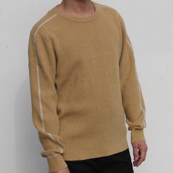 小值覺 現貨2020春季新款時尚潮流潮男氣質修身百搭男士圓領撞條毛衣 643110