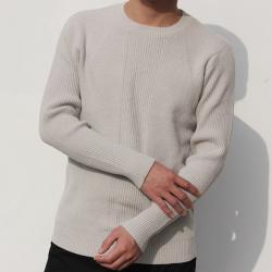 小值覺 現貨2020春季新款時尚潮流潮男氣質修身凈版圓領毛衣 643111