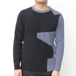 小值觉 现货2020春季新款时尚潮流潮男气质修身拼色圆领毛衣 643112