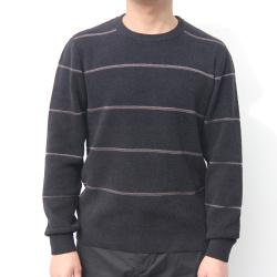 小值覺 現貨2020春季新款時尚潮流潮男氣質修身圓領條紋毛紋 643113